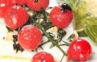 Филе палтуса с помидорами черри и базиликом