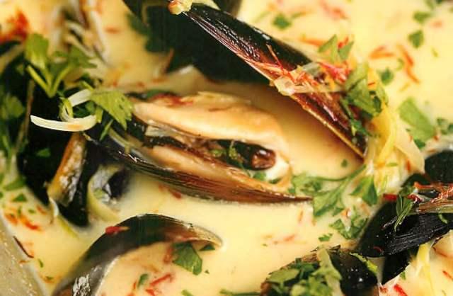 Овощной суп с мидиями