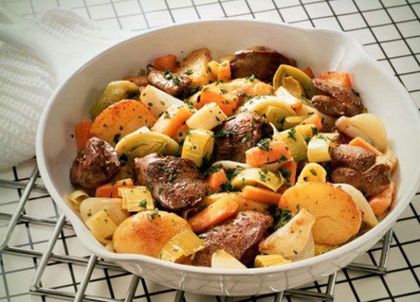 Печень с картофелем и грибами