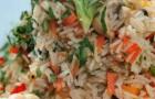 Плов вегетарианский с овощами и грибами