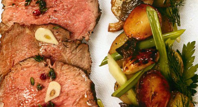 Ростбиф с обжаренным картофелем и грибами