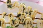 Шашлык из кальмаров с рисом