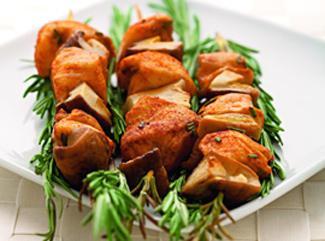 Шашлык из курицы с грибами