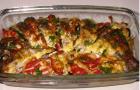Шашлык из речной рыбы с картофелем и помидорами