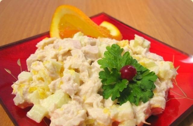 Салат из кролика с апельсиновой заправкой