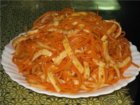 Салат из моркови с кальмаром