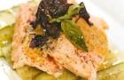 Террин из лосося со свежим огурцом и горчичным соусом
