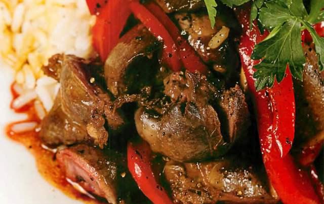 Куриные потрошки в соусе терияки с рисом жасмин