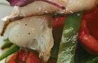 Салат из бакинских помидоров с теплым палтусом и гранатовым соусом