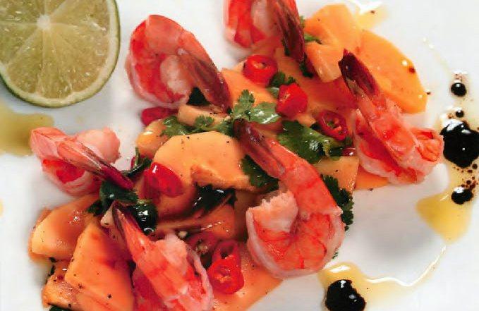 Салат из папайи с креветками