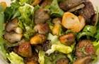 Теплый салат из куриной печени с хумусом