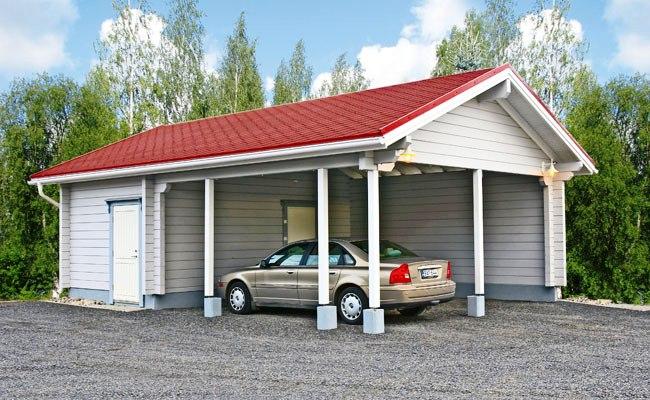 Пристенный гараж-навес