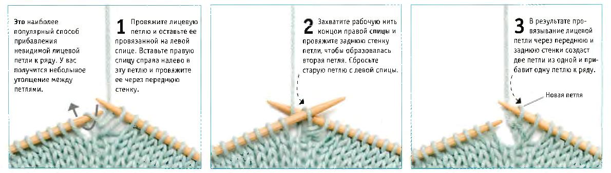 Вывязывание двух лицевых петель из одной петли