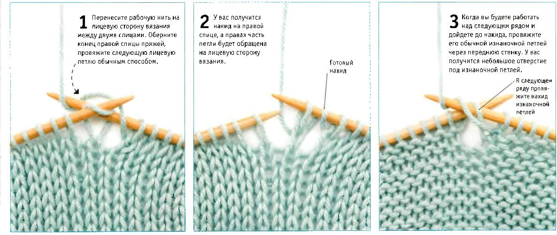 Накид при вязании лицевых петель
