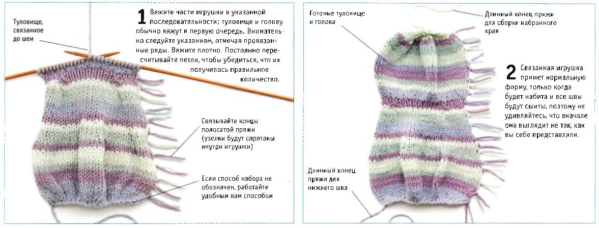 Вязание головы и туловища игрушки