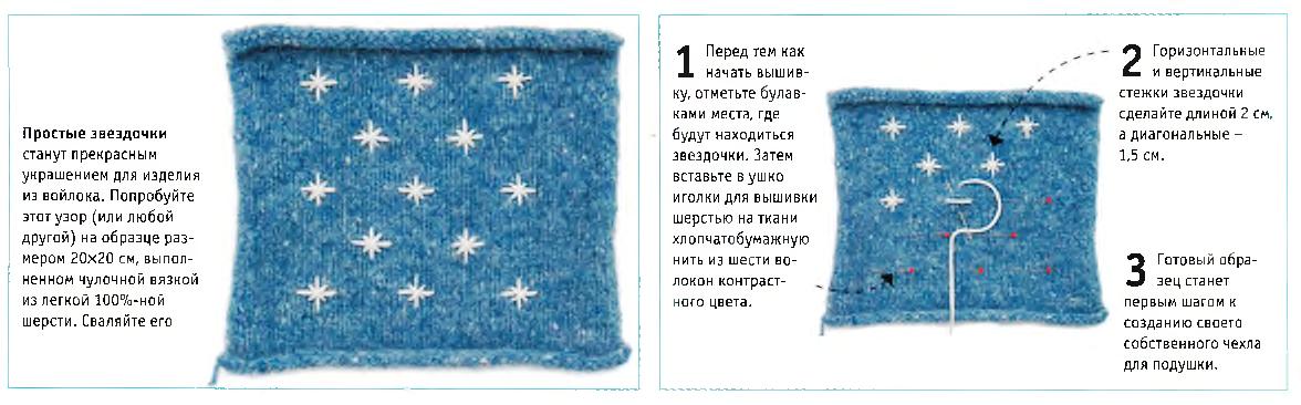 Вышивка на изделии из войлока