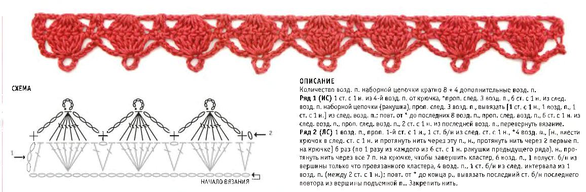 Кромочный узор из кластеров и ракушек
