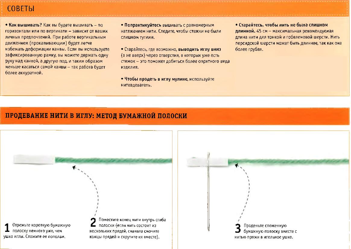 Продевание нити в иголку: метод бумажной полоски