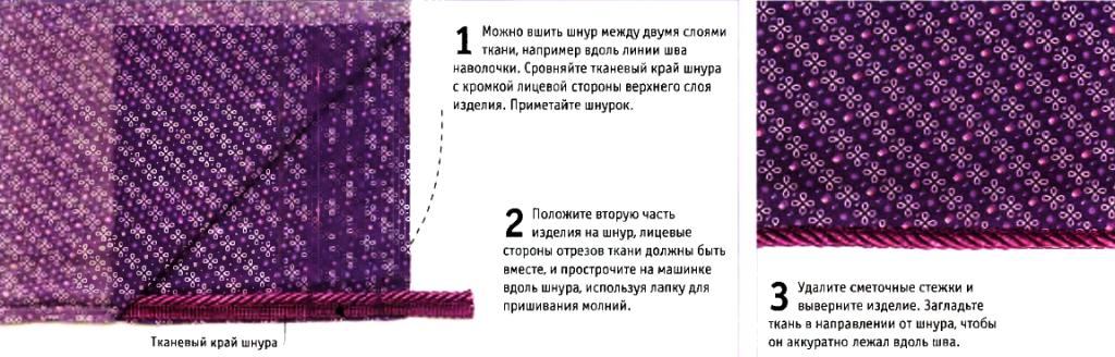 Пришивание шнура