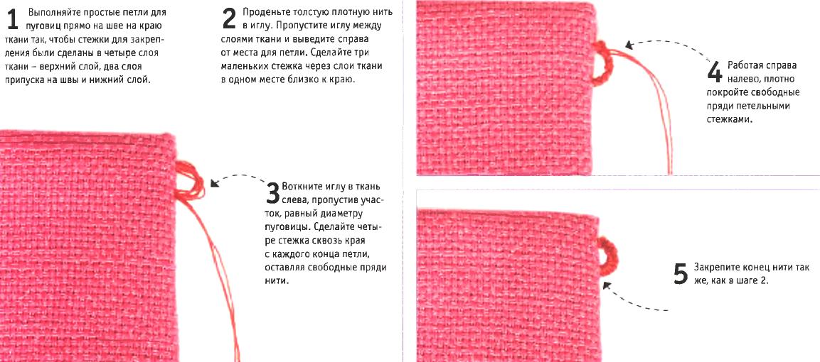 Как сделать петлю для пуговицы из ниток