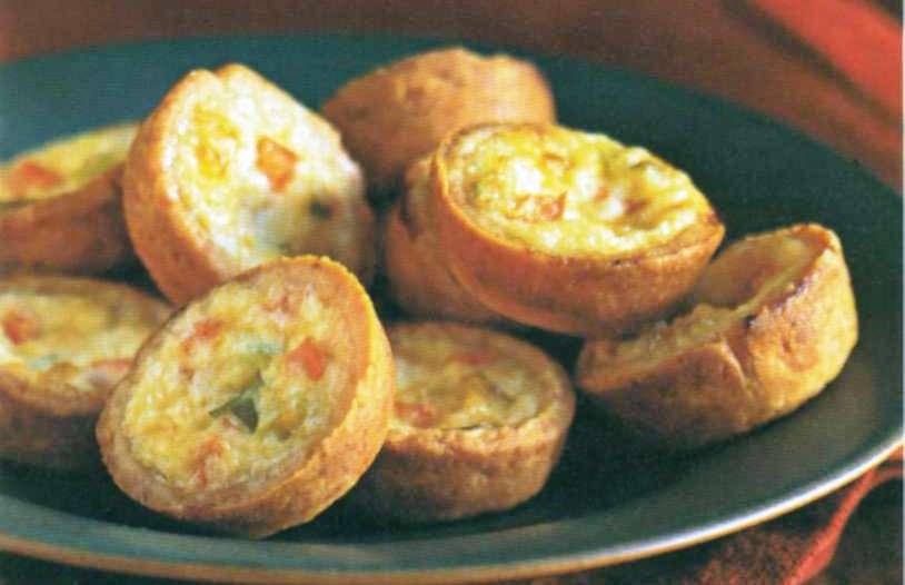 Пирожки киш с луком-пореем и красным перцем