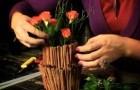 Композиция из цветов розы и корицы