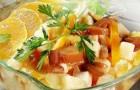Блинчики с орехами и салат из апельсинов