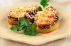 Бутерброды горячие с грибами и помидорами