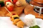 Фондю с овощными шашлычками