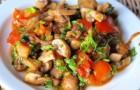 Грибной салат с картофелем и луковым ассорти
