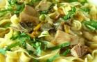 Грибной салат с макаронами
