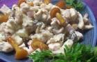 Грибной салат с ветчиной и с овощами