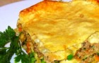 Мясной пирог с зеленым горошком