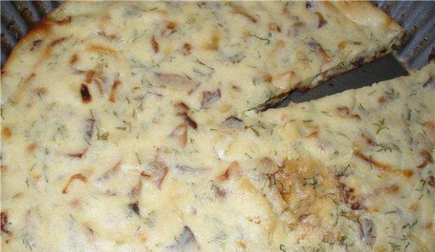 Пышная грибная запеканка с белым хлебом