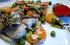 Рыба, тушенная с грибами и овощами