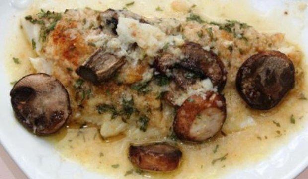 Рыба, запеченная с грибами