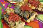 Шашлык из речной рыбы с зеленью