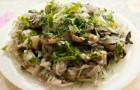 Салат из шампиньонов с квашеной капустой