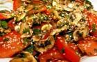 Салат из шампиньонов с помидорами