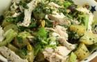 Салат из соленых грибов и филе цыпленка