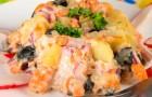 Салат с маринованными грибами и рыбой