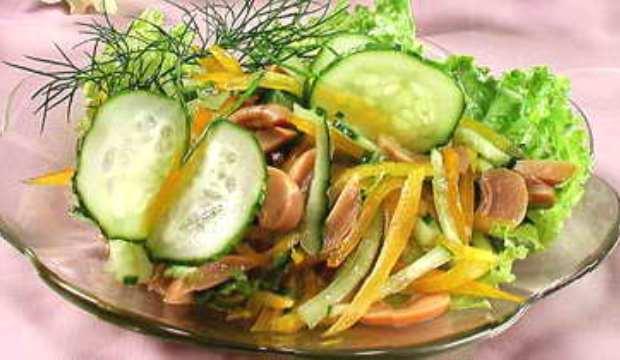 Салат с шампиньонами курицей и свежим огурцом рецепт