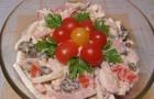 Салат с шампиньонами, ветчиной и овощами