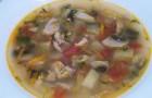 Грибной суп с баклажаном в скороварке