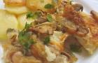 Палтус с грибами и шпинатом в скороварке