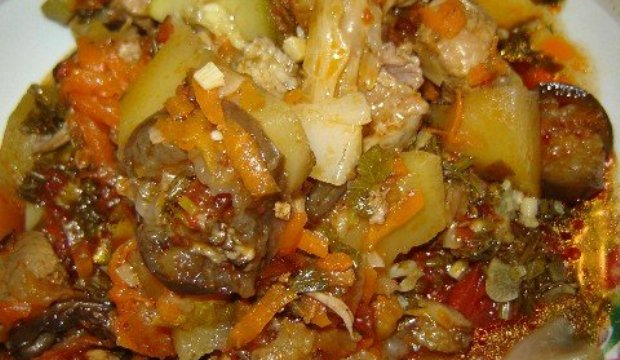 овощное рагу с цветной капустой и картошкой в мультиварке