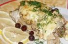 Рыба, запеченная с белыми грибами в аэрогриле