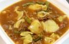Суп из говядины со стручковой фасолью в скороварке