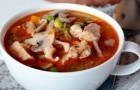 Суп из свинины с шампиньонами в скороварке