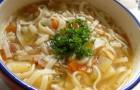 Суп из телятины со спагетти и сыром в скороварке